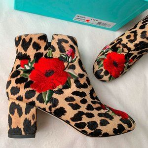 Kate Spade NEW Langton Leopard Booties 6.5 Floral Embroidered Calf Hair